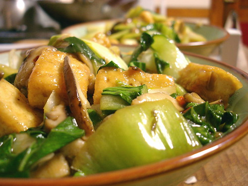 General Tso's Tofu with Bok Choy and Shitake Mushrooms