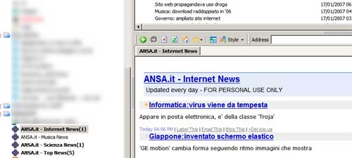 splendido feed RSS dell'ANSA