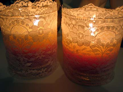 The candles with their new lace cozies