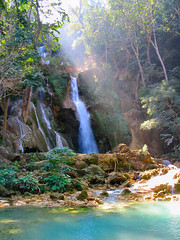 Tat Kuang Si waterfalls (Danil) Tags: travel blue white cold water beautiful swimming ilovenature waterfall rocks stream jungle laos mekong luang prabang tatkuangsi
