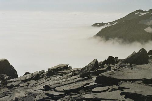 Mount Rainier in fog
