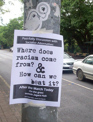 Sign on corner of George and Alice Sts, Invasion Day Rally and March, Brisbane, Queensland, Australia 070126