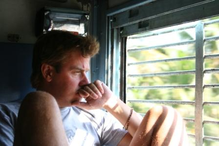 Tom on the train to Kerala