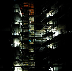 nocturnal construction (shwe) Tags: building london site industrial scaffolding nightscene guesswherelondon londonguessed e1 gwl d40 guessedbyloopzilla lblcomp044