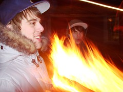 Christian and Cameron being engulfed in firey flames