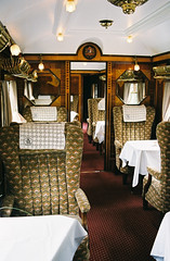 The inside of a carriage on the Orient Express