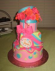 Trenda's Gifts (mandotts) Tags: roses stripes polkadots birthdaycake bow ribbon hatbox gifttag edibleart boldcolors presentcake sugarpaste sugarflowers fondantribbon