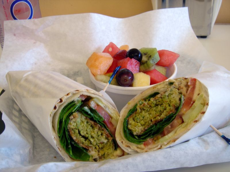 Falafel Sandwich and Fresh Fruit Cup