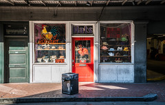 Red Rooster Hats - New Orleans, Louisiana (ChrisGoldNY) Tags: thechallengefactory challengewinners chrisgoldny chrisgoldphoto chrisgoldberg licensing forsale albumcover bookcover albumcovers bookcovers sony sonyalpha south america usa red redrooster hats stores shops street urban city sonya7ii neworleans nola louisiana windows sidewalk consumerist friendlychallenges