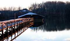 Early Evening At A Covered Boat Slip  (mightyquinninwky) Tags: trees sky water clouds reflections evening december kentucky lexingtonky richmondroad fayettecounty centralkentucky ellserlielake