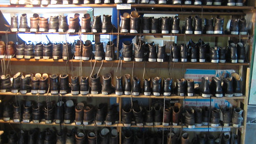 wood old history me leather shop store shoes forsale boots stickers maine selection used equipment rack labels choice sales selling soles shelves laces array manufacturer consignment durable limmer thanksgiving2006 arrayed