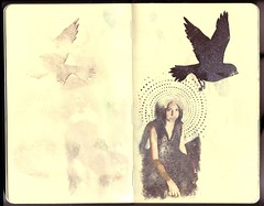 ...lisa (the3robbers) Tags: bird moleskine spiral large lisa sketchbook transfer blackbird solvent germano the3robbers