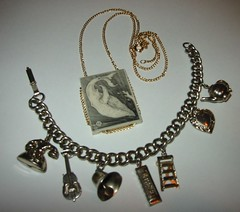 Vintage jewelry finds, part III (victoriafee) Tags: vintage necklace heart bell telephone cello engraving teapot whale ladder charms harmonica charmbracelet thift