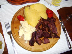 Mutton with polenta and sheep's cheese