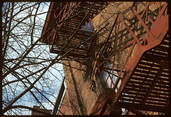 Fire Escapes on Ashley St, above old Del Rio, Ann Arbor, MI (plumb-larrick) Tags: washington michigan ashley annarbor scanned kodachrome mesuper delrio kodchrome smcpa50mmf17