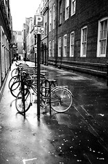 soho bicycles and gum (travelight) Tags: street leica blackandwhite bw london film monochrome soho bicycles m7 wetpavement utatacollection travelight