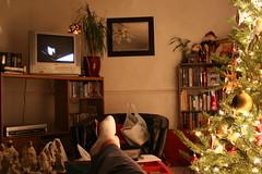 december 4 - day 44 (Regular Genius Girl) Tags: selfportrait lazy supermanreturns 365days watchingamovie ishouldbeworkingout propyourfeetup