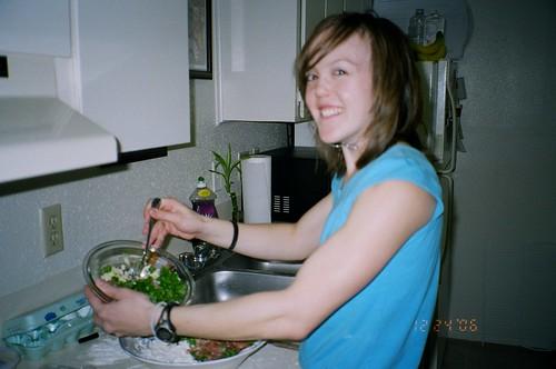 Me making the Ravioli Filling