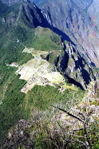 Looking down at Machu Picchu from Huayna Picchu, about 1,200 ft. of relief