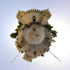 Planet Jerusalem :: Damascus Gate (Sam Rohn - 360 Photography) Tags: street plaza travel panorama architecture circle geotagged photography israel photo interesting nikon gate arch peace stitch palestine muslim islam jerusalem middleeast paz 360 panoramic photograph sphere planet pace antoinedesaintexupry escher filmmaking stitched holyland filmproduction 360x180 oldcity lepetitprince spherical invisiblecities islamic 360 paix palestina littleprince islamicarchitecture escheresque mcescher 360x180 alquds filmlocation locationscouting hyperbolic stereographic planetoid locationscout damascusgate flexify 105mmf28gfisheye filmlocations muslimarchitecture littleplanet polarpanorama nylocations samrohn realvizstitcher littleplanets stereographicprojection smallplanets bestofpalestinegroup locationscouts thelitttleprince geo:lon=35230107 geo:lat=31781718 filmscout detailssculpturalandarchitecturaltresures