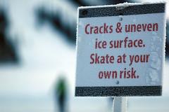 Skate At Your Own Risk (gogostevie) Tags: ice iceskating skating banff lakelouise warningsign 135mmf2l skateatyourownrisk cracksunevenicesurface