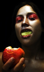 Apple 1 (Rekanyari) Tags: portrait woman selfportrait apple fruit fairytale scary makeup evil fantasy wicked brunette narrative moodu