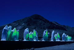 Ghosts of Rhyolite (Chris28mm) Tags: nightphotography blue usa green 35mm experimental fuji nevada surreal explore moonlight ghosts tungsten rhyolite nikonn80 startrails slowshutterspeed manray nocturnes greenlaser chris28mm creativephotographers nocturnes2005 copyright2007chrisjackson explore182007