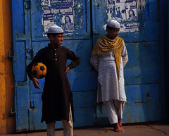 Football at the Taj Mahal (natemeg2006) Tags: street blue india sports sport yellow kids ball children amber football interestingness nikon soccer muslim islam azure taj mahal tajmahal agra utata dodger saffron kurta cerulean natemeg 18200vr d80 nikond80