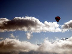 Ballooning (weegolo) Tags: silhouette clouds switzerland flying published balloon flight hotairballoon flims