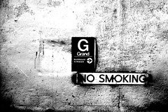 This is Grand (p2wy) Tags: bw chicago blancoynegro station sign train d50 geotagged 50mm interestingness interesting cta gbrearview grand el explore trainstation nosmoking nikkor f18 redline 50mmf18d redfilter chicagoist p2wy 50mmf18af nikonstunninggallery