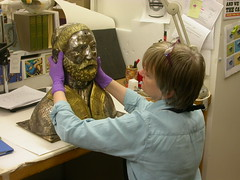 Conservation work in progress on a reliquary of St Antigius, January 2007.