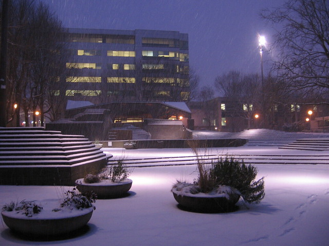 early morning snow, lovejoy fountain plaza