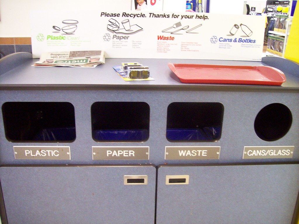 Recycling box at the Lincoln Fields shopping centre Wal-Mart McDonald's.