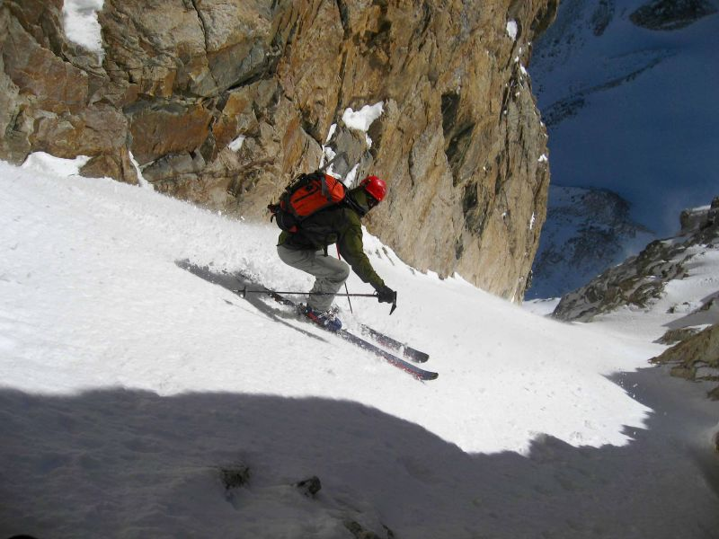 Dustin gets first turns in the Chouinard Couloir