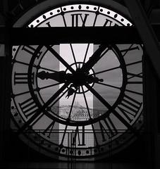 **Behind the clock** (Danielina) Tags: bw paris france clock time bn museo orologio francia orsay biancoenero parigi musedorsay lancette mybestpicture alarecherchedutempperdu