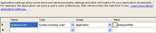 Settings Grid with an application setting