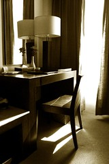 good morning sunshine. (theshanghaieye) Tags: morning light flower window lamp sepia architecture hotel design chair waterfront furniture room philippines peaceful monotone cebu curtains suite waterfronthotel lahug studytable executivesuite kennethcobonpue cobonpue
