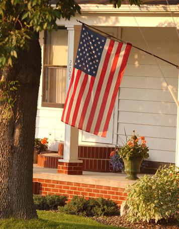 hang 45 pole sorta American Flag at home