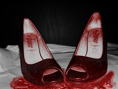 gorgeous feet = pain (Missy Vix) Tags: red feet blood shoes gorgeous painful sore peeptoe