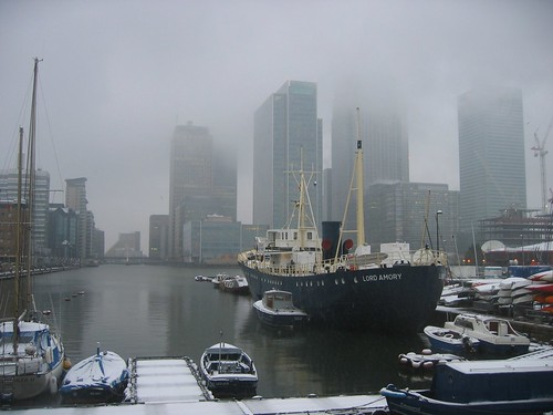 West India Dock with snow.