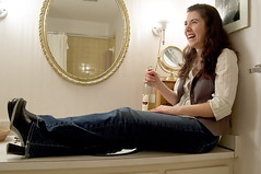 Candid camera (lady_ishmael24) Tags: me laughing bathroom mirror counter sink wine kelly 365days ladyishmael24