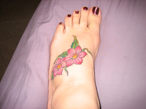 flower foot tattoo for girls
