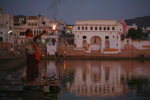 Hindu attending puja