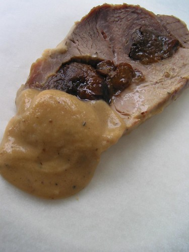 Pork, dried plums and apple sauce, recipe from Poland