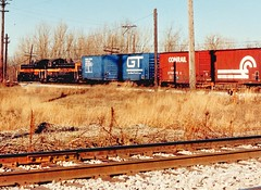 Northbound Indiana Harbor Belt RR transfer train. Argo Junction. Summit Illinois USA. December 1990.