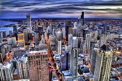 Chicago from Above (Stuck in Customs) Tags: city travel sunset usa chicago streets building tower architecture night america work buildings grid photography lights evening us office illinois nikon colorful downtown cityscape photographer loop sears searstower unitedstatesofamerica towers d2x officebuilding business theloop capitalism johnhancock hdr magnificentmile lucisart mykindoftown digg highquality nikonstunninggallery d2xs stuckincustoms treyratcliff