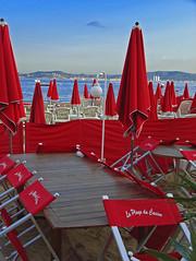 Casino's beach (Djteddy) Tags: red france beach colors rouge nice casino sunshade parasol plage var saintemaxime