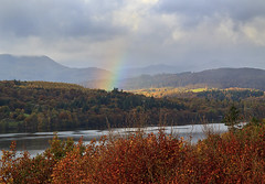 Rainbow over Windermere (maureen bracewell) Tags: autumn england lakedistrict uk countryside hills lake landscape mountains rainbow rural sky trees water cumbria rain nature lakewindermere colourful leaves clouds weather maureenbracewell cannon november scenery