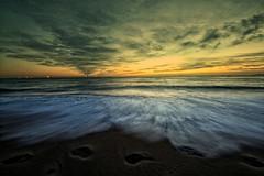 Simple Sunrise (PeskyMesky) Tags: aberdeen sunrise bridgeofdon flickr scotland beach sea water wave footprints canon canoneos500d