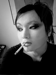 Vanden Plas (draGnet ) Tags: boy bw me moody artistic makeup smoking 2nd bitch tranny coolpix flickrversary androgyny nouvellevague e5700 deathline